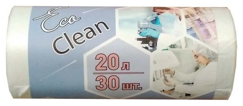 Мешки для мусора ПНД 20л 6мкм 30шт/рул белые 42х50см Ecoclean  NNB