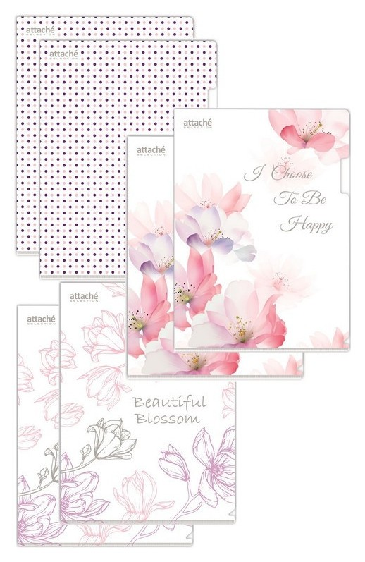 Папка уголок А4, 180мкм, Flower Dreams 6 шт.уп  Attache