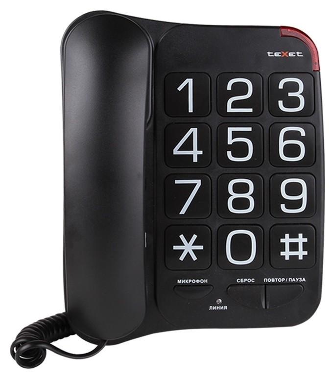 Телефон проводной Texet Tx-201 черный  teXet