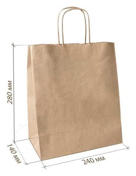 Пакет бумажный крафт бурый с крученой ручкой 240х140х280 мм. 300 шт./уп  NNB