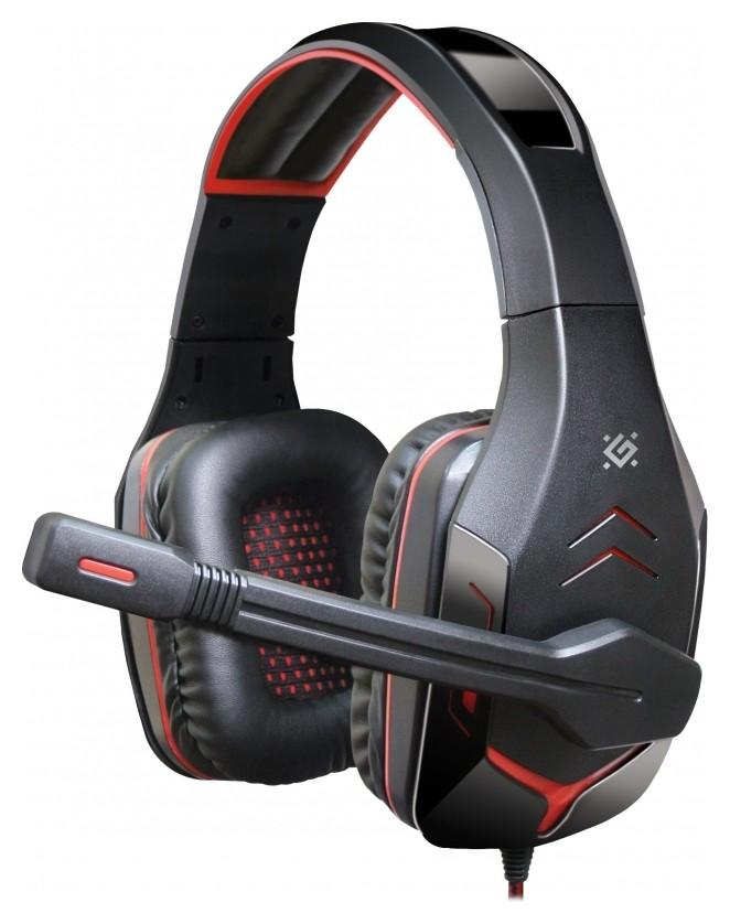 Гарнитура игровая Defender Excidium, проводная, 2,2 м, черно-красная  Defender