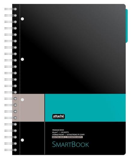 Бизнес-тетрадь Smartbook А4 120л. клетка,спир,микроп,разд,карм,сер-бирюз  Attache