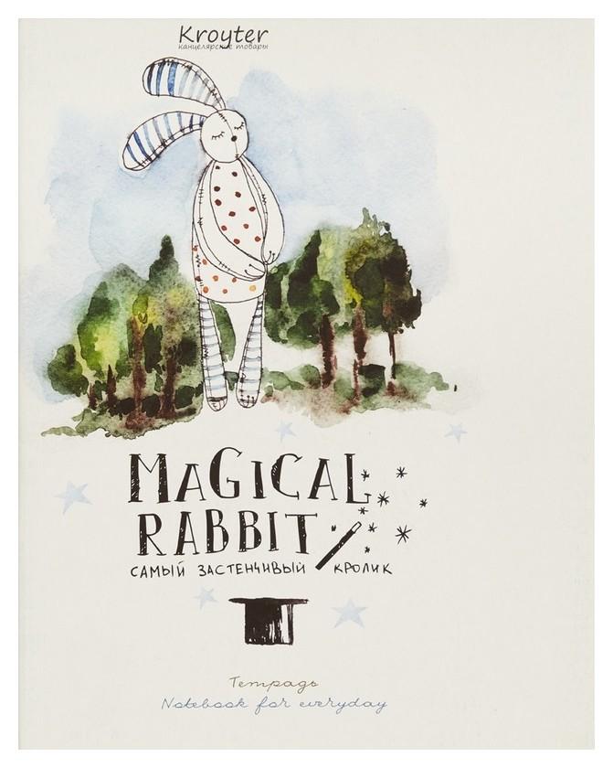 Тетрадь общая Kroyter 48л,клет207x165,скреп,мяг.обл.магический кролик,06135  Kroyter