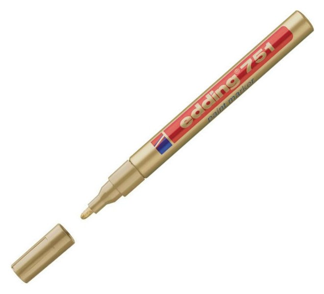 Маркер пеинт (Лак) Edding E-751/53 золотой, 1-2мм, мет. корп.  Edding
