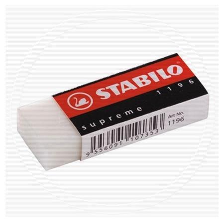 Ластик Stabilo Supreme 1196, пластик, карт.чехол 62?22?12 мм.  Stabilo