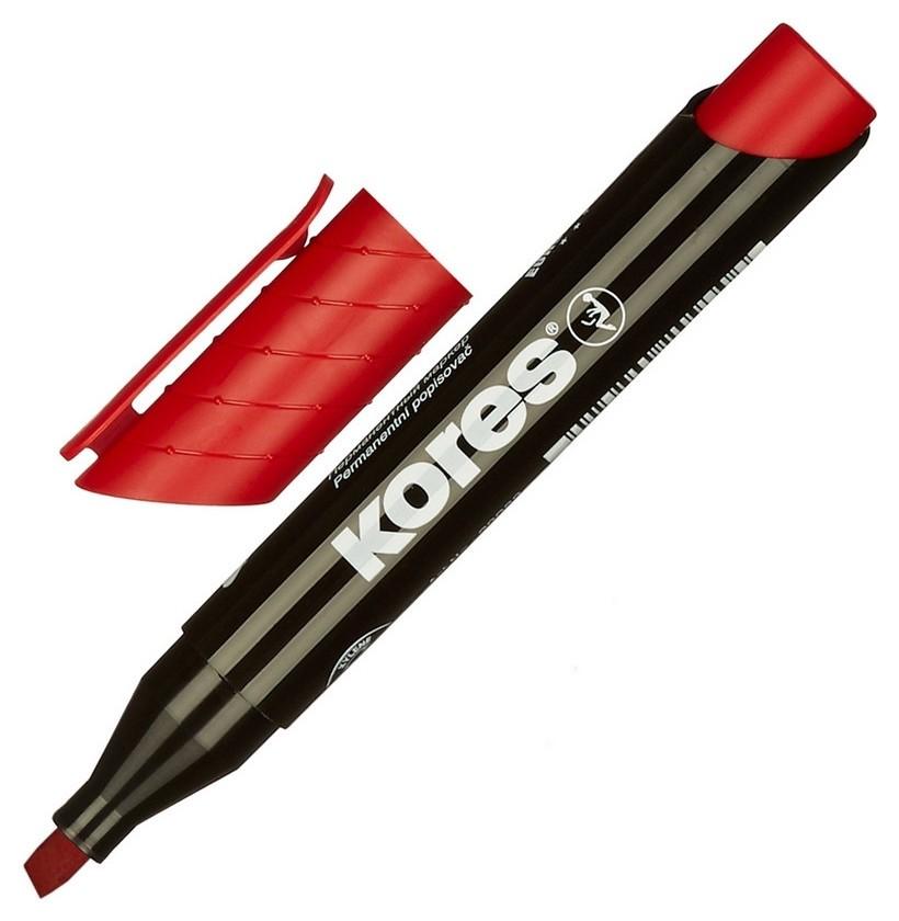 Маркер перманентный Kores красный 3-5 мм скошенный наконечник 20957  Kores