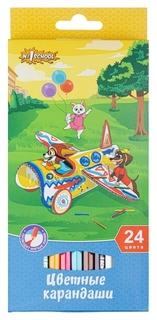 Карандаши цветные 24 цв 6-гран №1school шустрики  №1 School