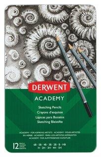 Набор карандашей черногр. Derwent Academy Sketching Tin 12шт 5h-6b мет кор  Derwent