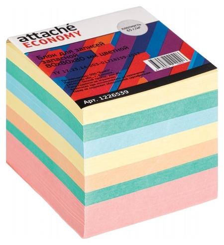 Блок для записей Attache Economy запасной 8х8х8, 5 цветов, 65 г  Attache
