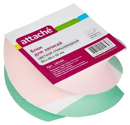 Блок для записей Attache спиралевидный 8х8х5 цветной 24шт./уп. 80 г  Attache