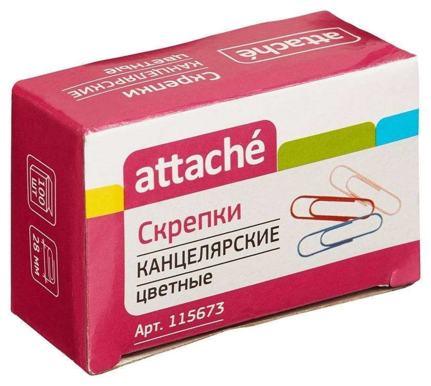 Скрепки Attache цветные, 28 мм, полимер,100 шт.в карт.уп  Attache