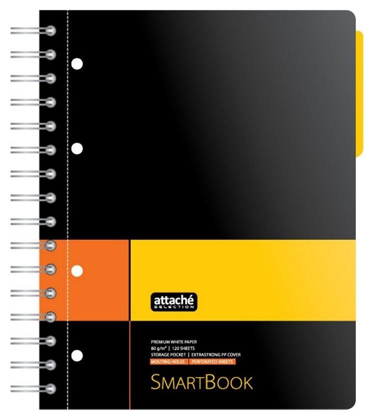 Бизнес-тетрадь Smartbook А5 120л. клетка,спир,микроп,разд,карм,жел-оран  Attache