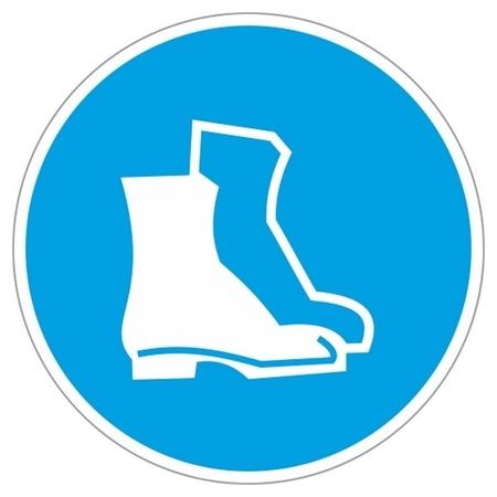 Знак безопасности M05 работать в защитной обуви (Плёнка,200х200)  Технотерра
