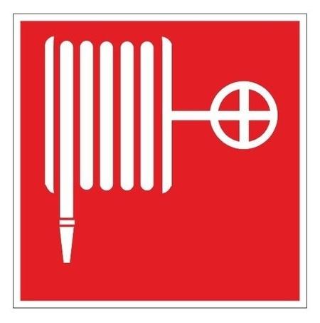 Знак безопасности F02 пожарный кран (Плёнка, 200х200)  Технотерра