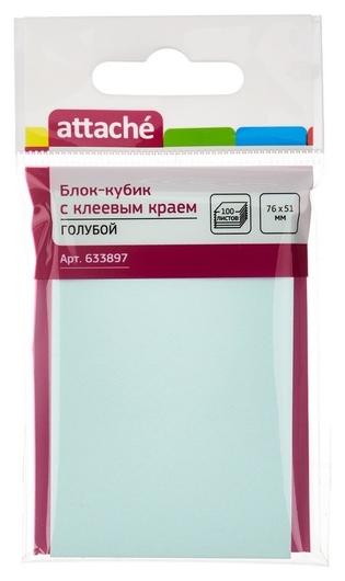 Блок-кубик Attache с клеев.краем 76х51 голубой 100л.  Attache
