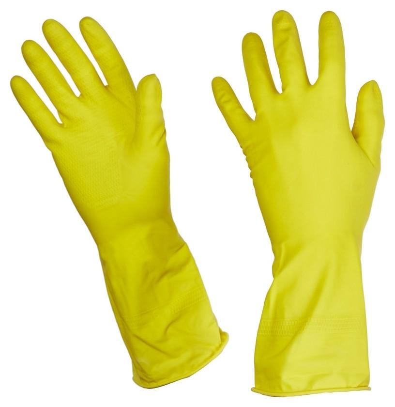 Перчатки резиновые Luscan латекс хлопковое напыление желтые р-р L  Luscan
