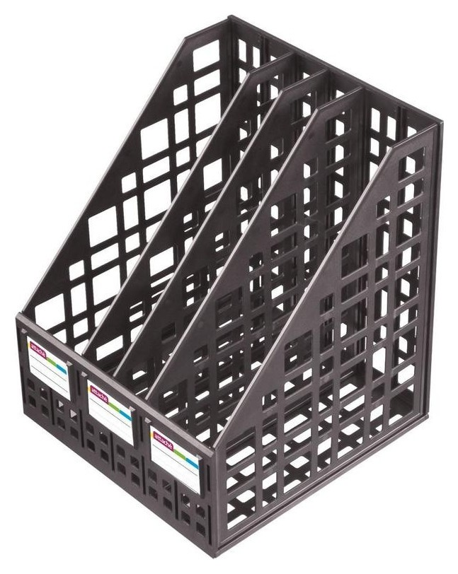 Лоток для бумаг Attache сборный вертикальный 4 отделения 240 мм черный  Attache
