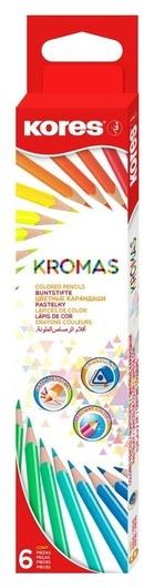 Карандаши цветные 6цв 3-гран Kores Kromas 93396  Kores