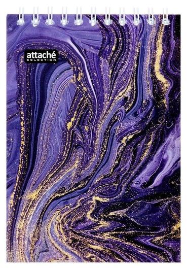 Блокнот а6,80л,кл,греб,карт.обл+уф-лак Attache Selection Fluidфиолетовый  Attache