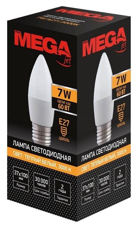 Лампа светодиодная Mega 7W E27 3000k тепл.свет свеча  ProMEGA