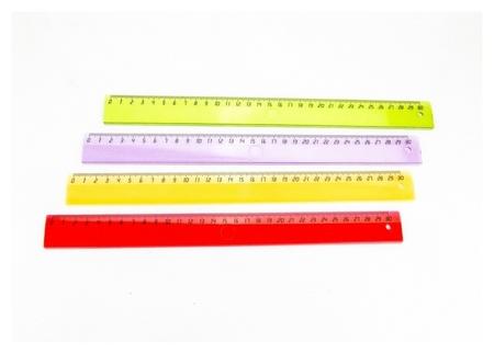 Линейка 30см Attache Economy пластик цвет прозр (Крас,син,зел,оран)  Attache