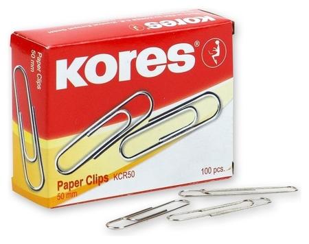 Скрепки Kores с отгибом, 50 мм никелированные, 100 шт.в карт.уп  Kores
