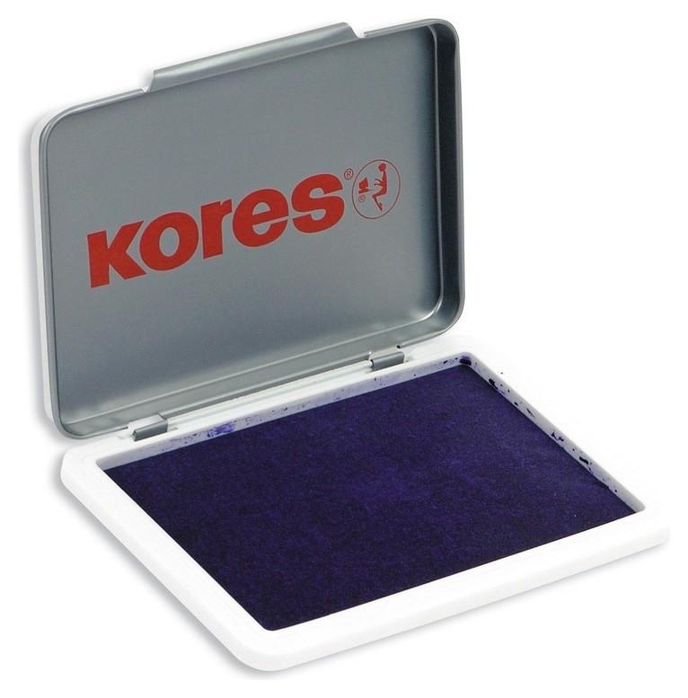Подушка штемпельная настольная кores фиолет.7х11см метал. 71555  Kores
