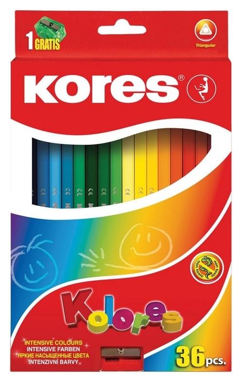 Карандаши цветные 36цв 3-гран,точилка Kores 93336.01  Kores