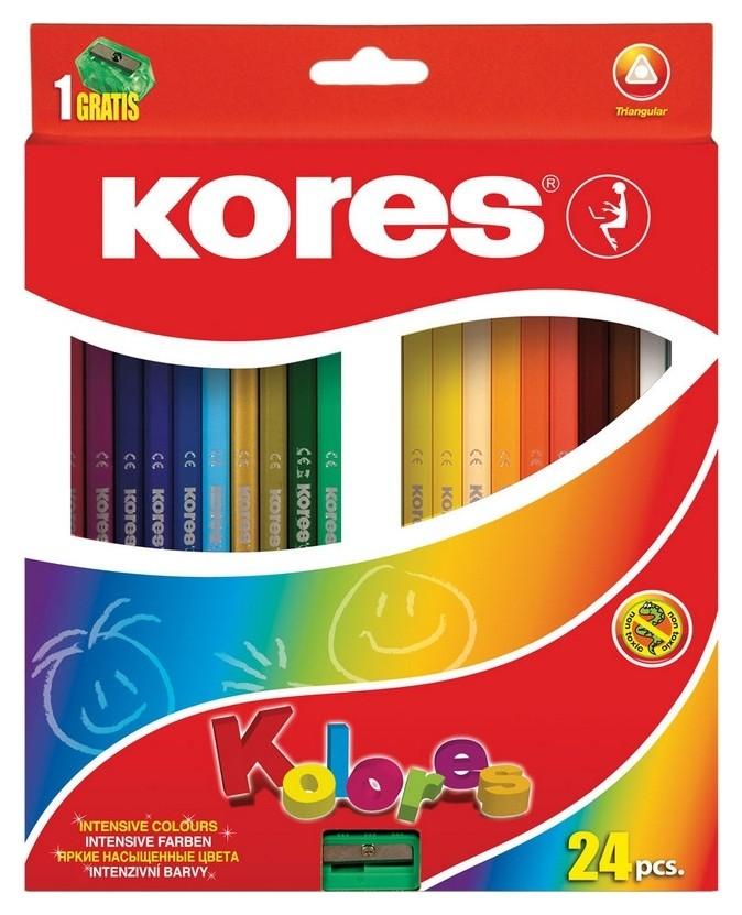 Карандаши цветные 24цв 3-гран,точилка Kores 93324.01  Kores