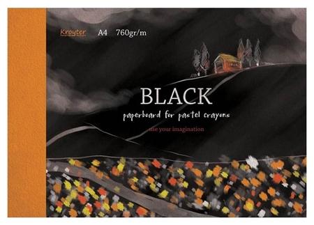 Альбом для рис.пастелью Kroyter А4 10л,блок черный 760гр,обл.мел.карт.7514  Kroyter