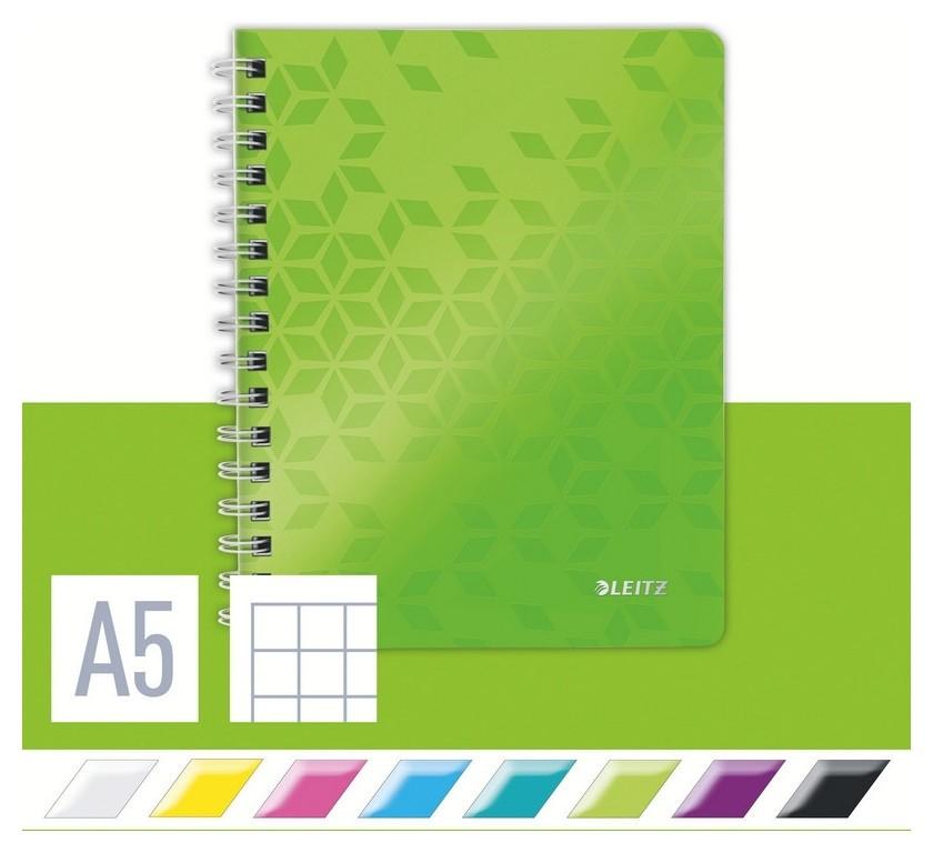 Бизнес-тетрадь Leitz Wow, А5, 80л, полипропилен, кл.,зеленый 46410064/54  Leitz