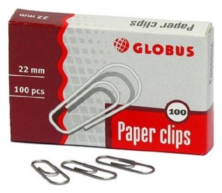 Скрепки Globus металлические без покрытия 22 мм 100 шт. в упаковке  Globus