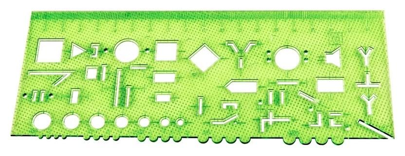 Линейка радиотехническая 18см Attache прозрачная зеленая  Attache