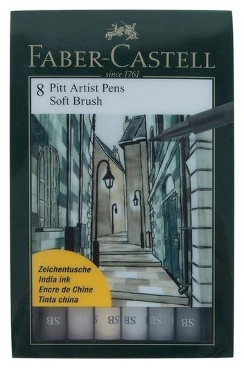 Набор капиллярных ручек Faber-castell Pitt Artist Pen Soft Brush 8цв,167808  Faber-castell