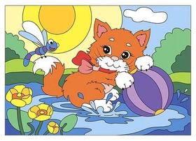 Набор для творчества картина по номерам радостный котенок, ркн-034  Lori