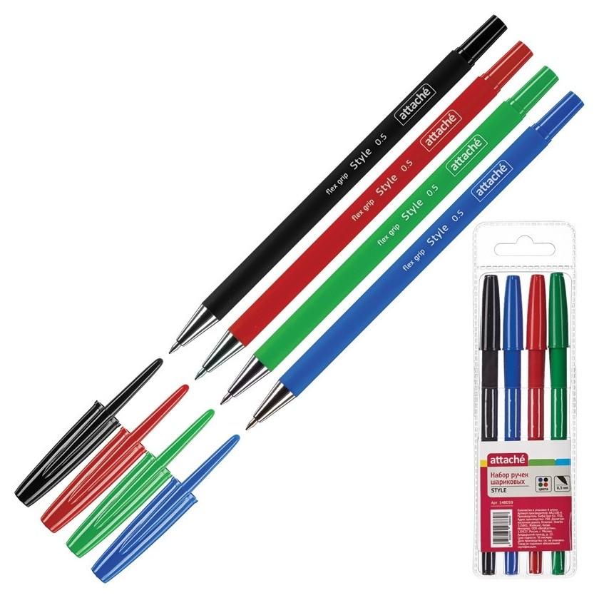 Ручка шариковая Attache Style 4цв/набор 0,5мм прорезин.корпус  Attache