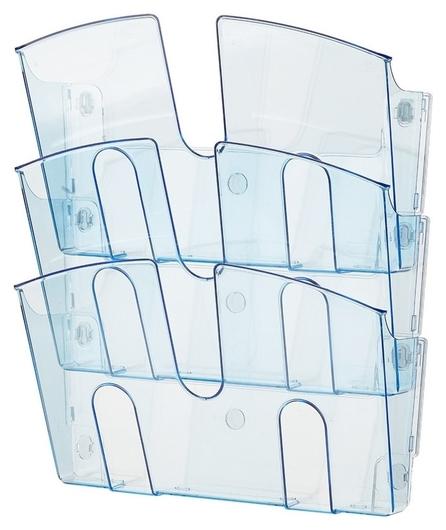 Дисплей настенный Attache 3 отделения А4 горизонтальный проз синий  Attache
