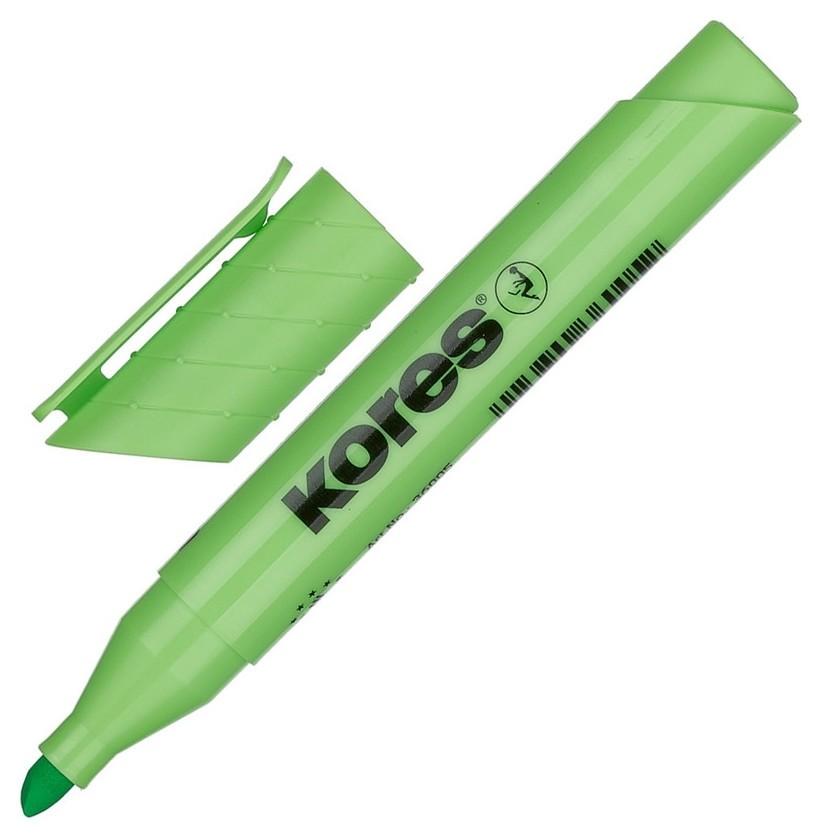 Маркер выделитель текста Kores 1-4 мм зеленый 36005  Kores
