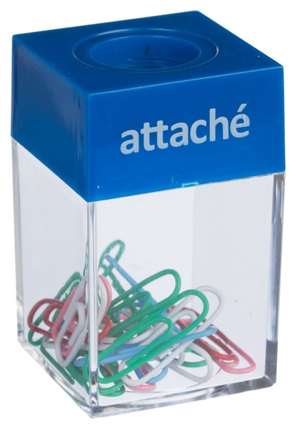 Скрепочница Attache магнит, с цвет. скрепками 28 мм (20шт.) цвет в ассорт.  Attache