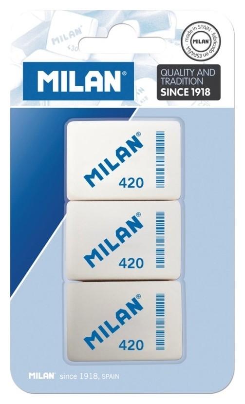 Ластик каучук Milan 420, 3 штуки в блистере (Bmm9221) Milan