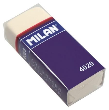 Ластик каучуковый Milan 4020 для применения в рисовании, белый  Milan