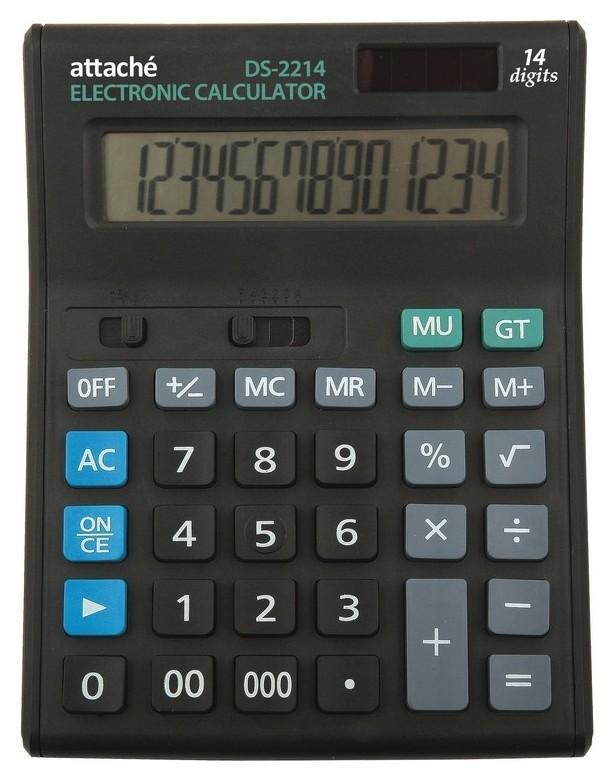 Калькулятор полноразмерный настольный Attache Economy 14 разр., чёрный  Attache