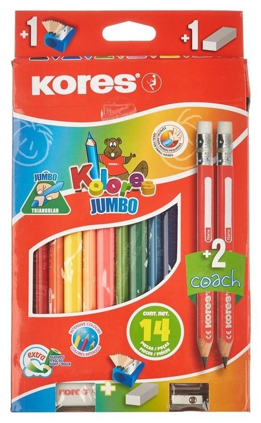 Карандаши цветные 12цв 3-гран Kores Jumbo промо набор 93514.01  Kores