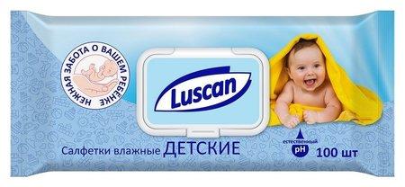 Салфетки влажные Luscan детские 100 шт с крышкой  Luscan
