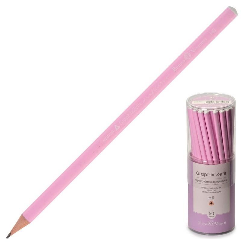Карандаш чернографитовый нежно-розовый Graphix Zefir HB, б/ласт,21-0045/01  Bruno Visconti