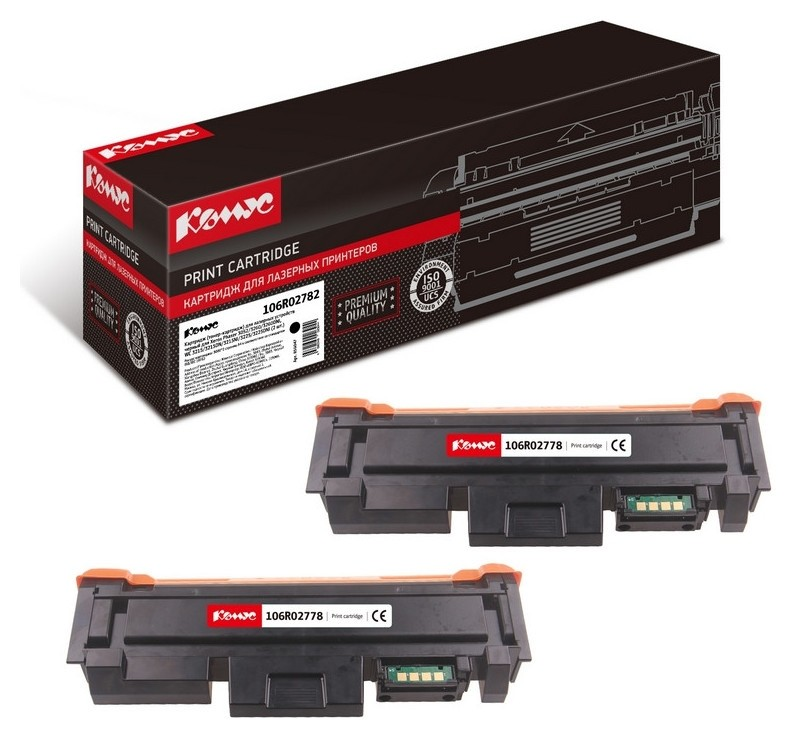 Картридж лазерный комус 106r02782 чер.для Xerox 3052/3260 (2шт/уп.)  Комус