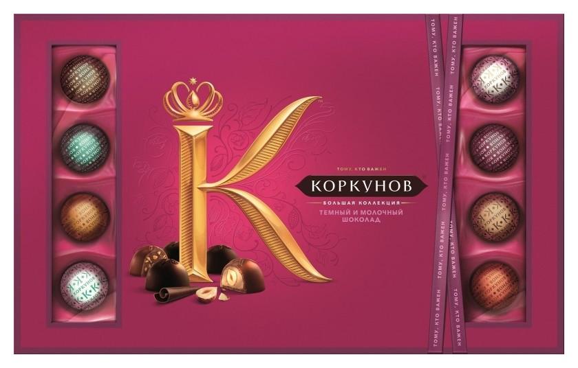 Конфеты шоколадные а.коркунов коллекция темный и молочный шоколад, 256г  А.коркунов