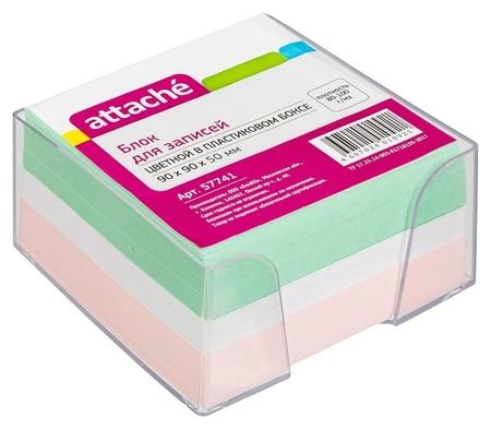 Блок-кубик Attache в стакане 9х9х5 цветной блок 80 г  Attache
