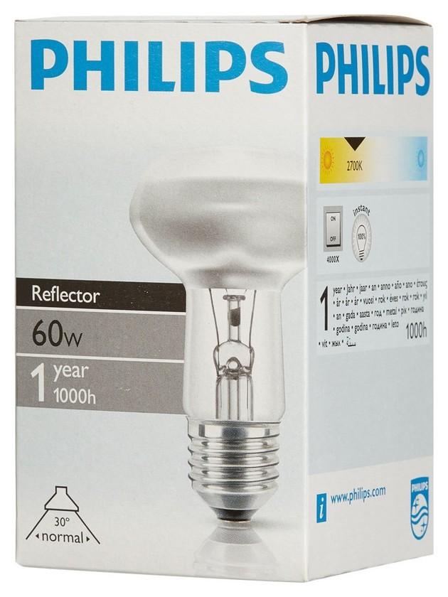 Электрическая лампа Philips рефлект. R63 60W E27 30D (30)  Philips