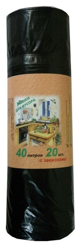 Мешки для мусора ПВД 40л 30мкм 20шт/рул черные 55х70см с завязками  NNB